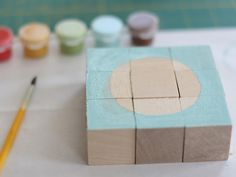 DIY painted block puzzle craft for kids