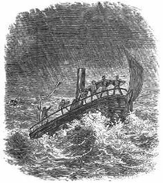 Steamer in the storm. The Rob Roy on the Baltic