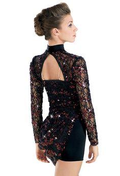Long Sleeve Draped Sequin Lace Biketard   Balera™ - via dancewear solutions.