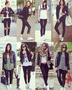 Moda inverno, roupa com tenis branco, look com tenis branco, look com tê Street Style Outfits, Fall Outfits, Casual Outfits, Cute Outfits, Fashion Outfits, Jeans Casual, Fashion Ideas, Photoshoot Fashion, Cheap Fashion