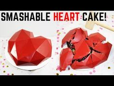SMASHABLE HEART CAKE! | How to make a breakable chocolate heart valentines day cake - YouTube