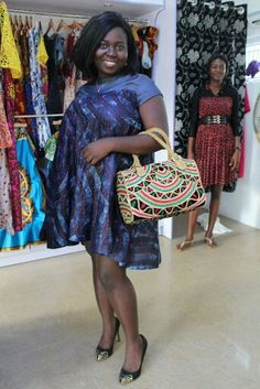 African this boss in our osc adire Eleko lindy dress