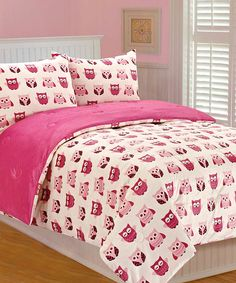 Adorable Pink Owls Comforter Set for a little girl's room.