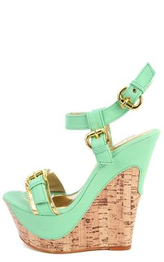 Arlin 1 Buckle Cork Wedges GREEN 60 |2013 Fashion High Heels|