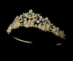 White and Gold Wedding Crown, Bride Tiara. Golden Crystal Tiara with Pearl Accents HP 7102 Bridal Tiara, Bridal Jewelry, Pearl Bridal, Bridal Crown, Quinceanera Tiaras, Quinceanera Dresses, Wedding Tiaras, Wedding Crowns, Gold Tiara