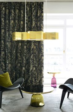 Curtain with palm-leaves. Very fashionable. Fabric by LELIEVRE, France.