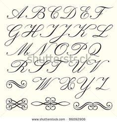 Hand Drawn Script Alphabet With Calligraphic Elements