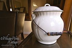 I love using vintage and antique items in new ways. Thomas Crapper, Potty Chair, Victorian Bathroom, Ginger Jars, Bathroom Storage, Antique Items, Bowl Set, Stoneware, Old Things