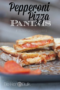 Pepperoni pizza paninis - a quick and easy lunch or dinner recipe that won't heat up the kitchen. Kids love these easy sandwiches!