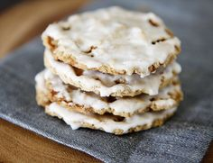 Iced Oatmeal Cookies recipe. They are deliciously spiced, and just chewy enough. The perfect treat to go along with that cold glass of milk.