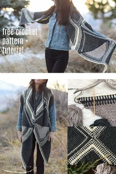 This easy free crochet pattern is so gorgeous! Theres a photo tutorial to help you make it even if you know only simple crochet stitches. This works as a scarf a shawl or a wrap. via Mama In A Stitch Knit and Crochet Patterns Jessica > click image for Simple Crochet, Knit Or Crochet, Crochet Scarves, Crochet Clothes, Free Crochet, Crochet Stitches, Crochet Patterns, Poncho Patterns, Crochet Vests