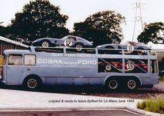 The AMR Cobra transporter - ready to leave Byfleet for 24hours of lemans in June 1965