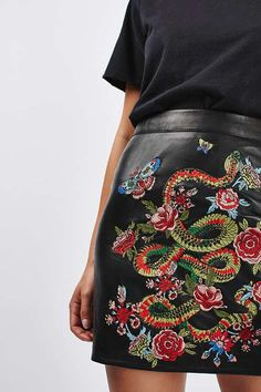 Actually in love with this: Snake embroidered mini skirt || Topshop