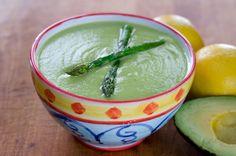 Roasted Asparagus Avocado Soup. Avocado replaces the cream and makes the soup luxuriously silky. Paleo, gluten-free recipe. ~ http://cookeatpaleo.com