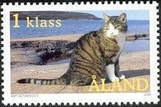 Cat Stamp from Åland island Finland- 2003