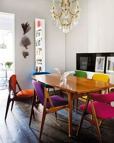 Rainbow of colors around a dining set. Would you try it in a casual eating space? (you had me at rainbow).