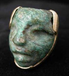Ring with Mayan Jade Mask - FJ.6704 Origin: Mesoamerica Circa: 300 AD to 900 AD