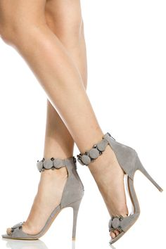 Buy Grey Faux Suede Ankle Strap Single Sole Heels with cheap price and high quality from Cicihot Heel Shoes online store which also sales Stiletto Heel