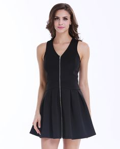 Black Sleeveless V Neck Zip Pleated Dress 17.33