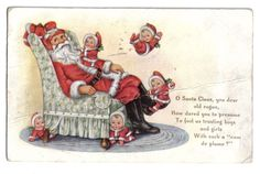 Nimble Nicks Jumping on Santa Claus Sitting in Chair~Whitney~Christmas~1916 #Christmas