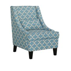Asplin Contemporary Blue Patterned Fabric Upholstered Armchair
