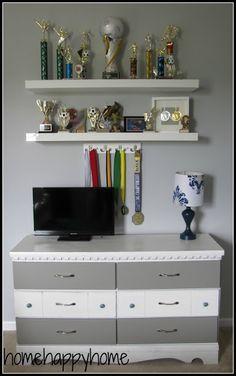Not your typical teen girl bedroom art station with fabric covered cork board Kids Room Shelves, Trophy Shelf, Shelf Hooks, Girls Bedroom, Bedroom Art, Fabric Covered, Classroom Decor, Shelving, Bookcase