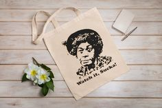 Aunt Esther Watch it Sucka! Tote Bag / Sanford and Son / Choice of colors Buy any two shirts get one free! Free Shipping by cottonpickincrazy on Etsy