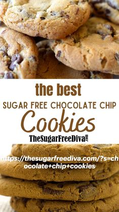 Sugar Free Chocolate Chip Cookie Recipe, Sugar Free Cookie Recipes, Sugar Free Deserts, Sugar Free Baking, Sugar Free Sweets, Sugar Free Cookies, Keto Cookies, Chocolate Chip Cookies, Baking Recipes