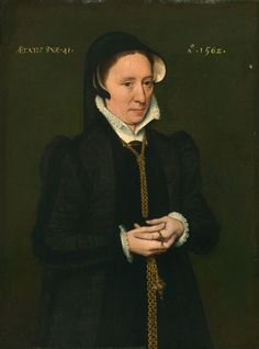 Flemish (Antwerp?)  Portrait of a Woman, 1562  Oil on panel 12 3/16 x 9 1/16 in. (31 x 23 cm) Inscribed to the left of the sitter: AETATIS SVAE . 41 . , to the right of the sitter: Ao. 1562 .