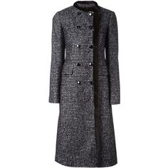 Dolce & Gabbana fur trim bouclé coat ($5,395) ❤ liked on Polyvore featuring outerwear, coats, black, long sleeve coat, double breasted coat, calf length coat, double breasted bouclé coat and fur trim coat