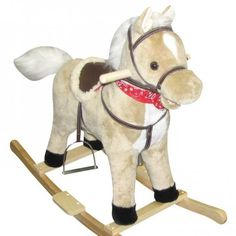 A to Z Rocking Horse with Sound and Moving Mouth and Tail Toy Light Brown