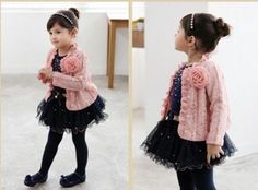 Details about 3pcs CUTE Girl Baby Kids Toddler Top Coat+T-shirt+Skirt Tutu Clothes Outfit