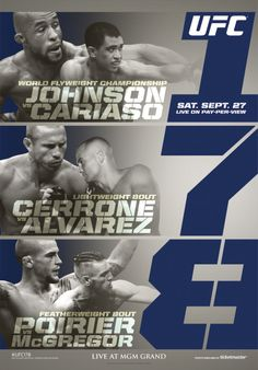 This mixed martial arts release features legendary Ultimate Fighting Championship matches between T. Dillashaw and Joe Soto and Demetrious Johnson and Chris Cariaso. Conor Mcgregor, Mixed Martial Arts Training, Demetrious Johnson, Ufc Events, Las Vegas, Great Warriors, Pay Per View, Ultimate Fighting Championship, Handstand