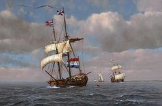 """This is a recently completed oil painting of the Dutch squadron that attacked and reclaimed New York from the English in August of 1673. The lead ship is """"Zeehond"""" (sea lion). The painting measures 20"""" x 30""""."""