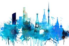 Moscow City Art, Moscow Russia City Poster, Moscow Skyline Decor, Watercolor…