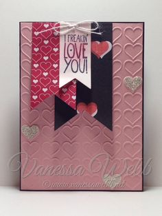 Valentines Day card......Happy Heart embossing folder, Stacked With Love Designer Series Paper Stack, Silver Glimmer paper, Itty Bitty Accents Punch Pack, Yippee Skippee stampset 2015 Occasions Catalogue.....available in store - www.vanessawebb.stampinup.net