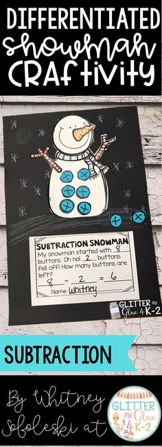 Use this fun snowman craftivity to reinforce counting, addition, subtraction, and color words! I've included four different versions so you can use the option that fits your classroom's needs best or you can differentiate. Keywords: snowman theme, math craft winter theme, kindergarten, first grade, special education, intervention, math centers, guided math, crafts