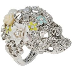 Betsey Johnson Holiday Party Flower Skull Ring ($49) ❤ liked on Polyvore featuring jewelry, rings, multi, pave jewelry, party jewelry, betsey johnson, plastic jewelry and plastic flower ring