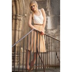 Creamy Skirt Kayture ❤ liked on Polyvore featuring kayture, models, people, backgrounds and kristina bazan