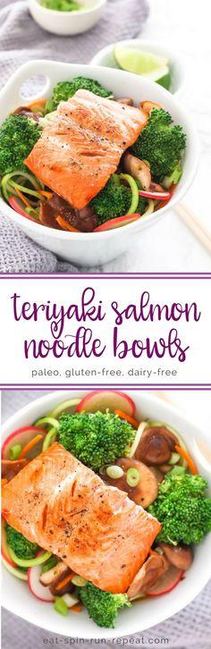 Teriyaki Salmon and Zucchini Noodle Stir Fry - paleo, gluten-free, dairy-free || Eat Spin Run Repeat