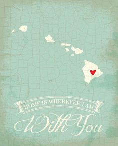 Hawaii map art state poster 8 x 10 Typographic by TheNoblePig, $14.00