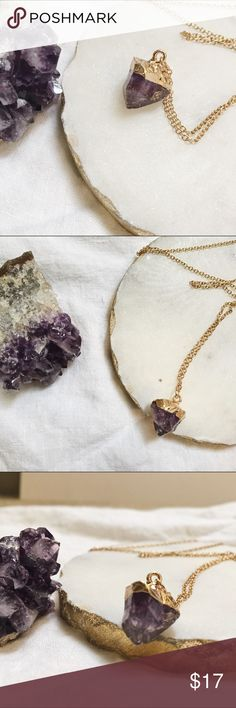 "Gold Amethyst Pendant Necklace, NWOT Gold Amethyst Pendant Necklace. Chain is 12"" long. Never been worn, NWOT Jewelry Necklaces #pendants  #pendantssilver #pendantsgold #pendantswomen #pendantsusa #USA"