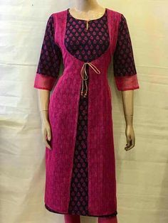 Love the contrast. Salwar Neck Designs, Kurta Neck Design, Kurta Designs Women, Dress Neck Designs, Blouse Designs, Salwar Pattern, Kurta Patterns, Dress Patterns, Office Dresses For Women