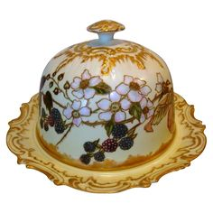 Phenomenal Limoges Porcelain Domed Cheese / Butter Dish ~ Hand Painted with Blackberries & Flowers ~ Artist Initialed ~ Coiffe ~ 1890-1925