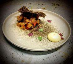Yellowtail Tartar | Cherry Tomatoes Confit | Basil   | Horseradish Aioli | Onion Tosazu | Nori Powder | Shellfish-Ink Tapioca
