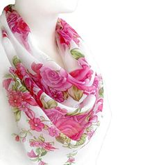 White Scarves, Red Scarves, How To Wear Scarves, Chiffon Scarf, Floral Chiffon, Red Shawl, White Shawl, Spring Scarves, Lightweight Scarf