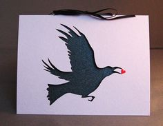 Cut Paper Stolen Heart Crow Silhouette Greeting by arwendesigns, #hvnyteam