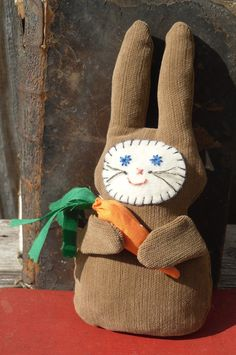 Brown Fabric Rag Stuffed Bunny Rabbit by humblehrtdesigns on Etsy, $8.00