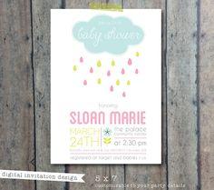 baby shower invitation - gender neutral - cloud and raindrops shower invite - boy girl baby shower invitation