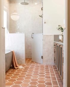 Native Trails Avalon concrete bathtub in earthy bathroom designed by Emily Seeds Interiors Bathroom Renos, Master Bathroom, Earthy Bathroom, Basement Bathroom, Neutral Bathroom, Remodel Bathroom, Spanish Bathroom, Spanish Style Bathrooms, Mediterranean Bathroom